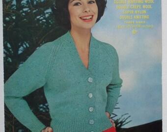 Vintage 1950s Knitting Pattern Women's Cardigan 50s original pattern Sirdar No. 1713 UK - short classic style