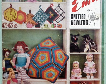 Emu Knitted Novelties Booklet Book B.23 Vintage 1960s 1970s Knitting and Crochet Patterns - Small Gifts Toys Dolls Accessories Home Decor