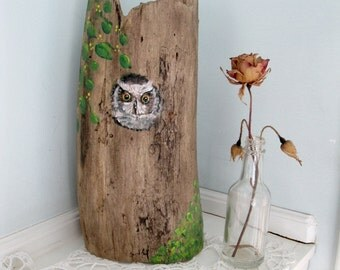 Painted Owl on Tree Bark, Natural Sculpture, Nature Decor, Weathered Wood, Rustic Decor