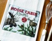 Rustic Cabin Tea Towel, Moose Flour Sack Dish Towel, Applique Kitchen Towel, North Woods Rustic Lodge Cabin Decor