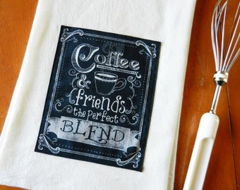 Chalkboard Coffee Tea Towel, Flour Sack Dish Towel, Applique Kitchen Towel, Coffee Theme Kitchen, Chalkboard Tea Towel, Coffee and Friends