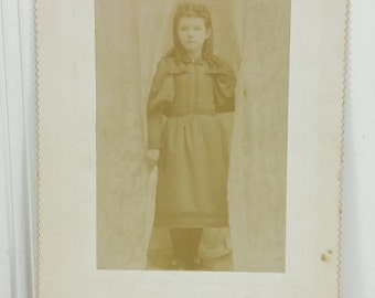 Edwardian Girl with Lacy Curtains, Ghost Girl Sepia Portrait Cabinet Card Instant Ancestors