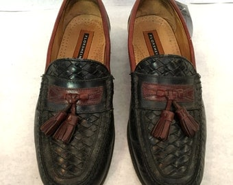 Vintage Loafers Mens Loafers Woven Shoes Black Loafers Burgundy Brown Loafers Leather Loafers Size 8 Florsheim Slip Ons Shoes with Tassels
