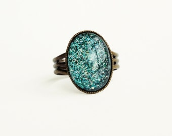 Teal Green Glitter Ring Vintage Domed Glass Cabochon Ring Turquoise Green Adjustable Antiqued Brass Nail Polish Jewelry Holographic Ring