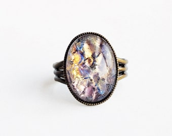 Fire Opal Ring Amethyst Glass Ring Purple Gold Foil Ring Rare Vintage Iridescent Glass Lampwork Adjustable Antique Brass Ring Opal Jewelry