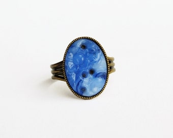 Blue Glass Ring Royal Blue Ring Vintage Carved Glass Cabochon Ring Dark Blue Ring Sapphire Glass Jewelry Vintage Carved Floral Jewellery