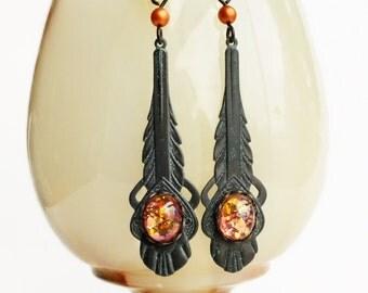 Art Deco Earrings Black Brass Dangle Earrings Vintage Fire Opal Art Deco Dangles Art Deco Jewelry Dragons Breath Earrings
