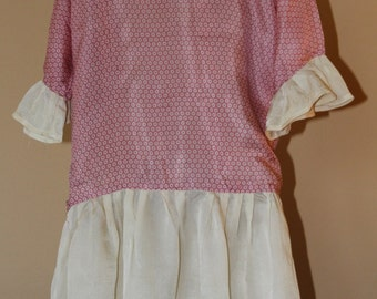 Vintage Toddler Dress, Pink and Cream Dropped Waist, 1930's or 1940's Era