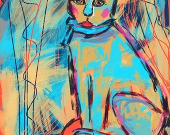8 x 10 PRINT of Blue Cat by Joan Princing Art