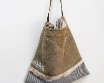Grain Sacking Bag Hessian Rustic Country Vintage Faded French Floral Cloth Ticking Lace Leather Strap Handle Red Damask Gingham Hop Sack Bag