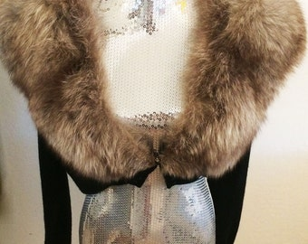 Vintage 50's-60's Sweater-Shrug with Fox Fur Collar, Medium