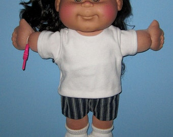 """Cabbage Patch Doll Clothes  Tshirt  Short Set  14""""  or 15"""" Doll Made in USA Girl Doll Adoptimals Boy or Girl Doll Clothes"""