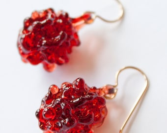 Glass Cluster Ball Earrings - Pomegranate