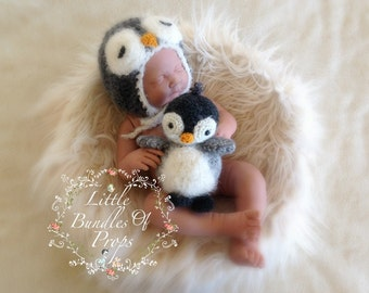 Newborn Penguin Set Bonnet & Toy Made To Order Ships From Australia Newborn Photography Props