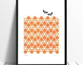 "20% OFF Black Friday Sale - Fine Art Print ""Bumblebees"" A3 size"