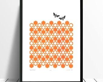 "Fine Art Print ""Bumblebees"" A3 size - FREE Worldwide Shipping"