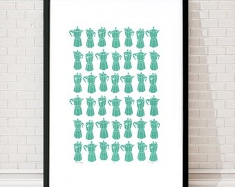 Moka Espress Coffee Pots Limited Edition Screen Print (Sea Green) A2 size
