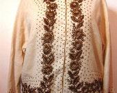 Vintage 50s Lambswool / Angora Cream White with Heavy Gold Beading Cardigan Sweater Size Large