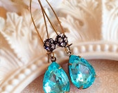 Best Bridesmaid Gifts - Aquamarine Earrings - Crystal Earrings - Bridesmaid Earrings - Prom Jewelry - COVET Aqua