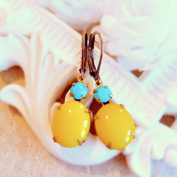 Bright Yellow Earrings - Turquoise Jewelry - Turquoise Earrings - Sunshine Yellow Earrings - MYSTERE Sunshine