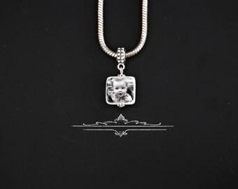 Peahead photo portrait European Style  Charm/pendant