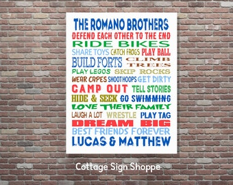 Brothers Wall Art, Boys Room Decor, Brothers Gift, Digital Art, YOU Print,Brothers Room Decor, Custom, Personalized Gifts, Brothers Wall Art