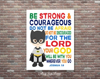 Batman Wall Art, Batman Nursery, Christian Superhero, DIGITAL, YOU PRINT, Batman Bedroom, Christian Superhero Art, Christian Batman Wall Art
