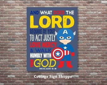 Micah 6:8, Seek Justice, Love Mercy, Walk Humbly, Boys Superhero Decor,Christian Bible Verse,DIGITAL YOU PRINT, Christian Superhero Wall Art