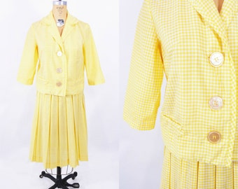 1960s set vintage 60s yellow gingham top skirt suit set M W 27""