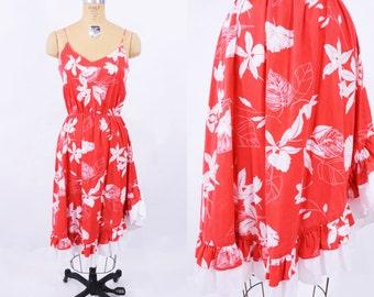 1970s dress vintage 70s sun red tropical hibiscus sun dress S