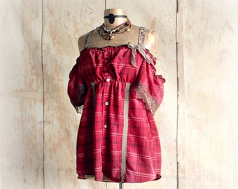 Off Shoulder Top Country Red Plaid Romantic Blouse Bohemian Chic Women's Ruffle Shirt Boho Clothing Upcycled Clothes Shabby Top M 'SYDNEY'