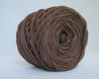 T Shirt Yarn Hand Dyed- Dark Brown 60 Yards