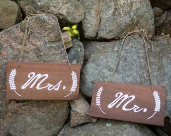 Mr and Mrs wedding signs, chair signs, bride and groom, custom signs
