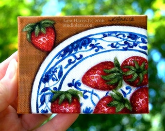 Itty Bitty Bits of Pretty...Summer Strawberries on Ming Plate Mini Painting in OIL by Lara ACEO 3x4 Miniature