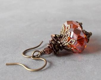 Orange Bridesmaid Earrings Orange Crystal Dangle Earrings Bead Earrings Rustic Wedding Jewelry Bridesmaid Gift Orange Wedding Jewelry Sets