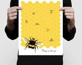 "bumble bee signature guest book - 11x14"" print - wedding, baby shower, birthday, bridal shower illustration, personlaized art, honey yellow"