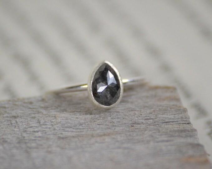 Rose Cut Diamond Engagement Ring, Pear Shape Fancy Color Diamond Solitaire Ring, Round Diamond Ring, Handmade Diamond Wedding Gift