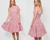 Vintage 80s OSCAR De La RENTA Polka Dot One Shoulder Dress SILK Drop Waist Party Dress with Bow Detail