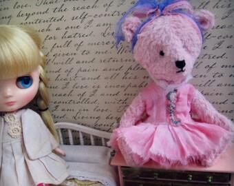 "OOAK Collectible Miniature Artist Bear - ""Juno"" - 5-6"" -   Pink"