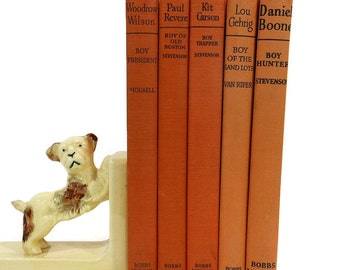 Vintage Book Stack Orange Instant Library Collection Famous American Boyhoods Mid Century Home Decor School Staging Decor PeachyChicBoutique