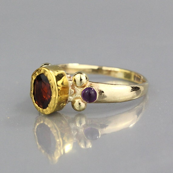 garnet engagement ring solid gold ring oval cut by