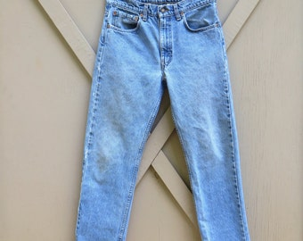 vintage Levi's 505 Distressed Faded Stone Wash Regular Fit Straight Leg Denim Jeans