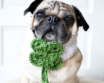 Lucky Clover Knit Dog Collar - Dog Scarf - Dog Neck Warmer - St. Patrick's Day Dog Accessories - Irish Dog Clothing