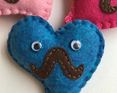 Heart plushie Love plush - Heart-stache mini plush  - ''Mr. HeartStache'' - mini felt plush heart  with mustache and googly eyes - hand sewn