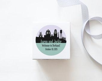 Durham, NC Custom Wedding Welcome Stickers - SKYLINE