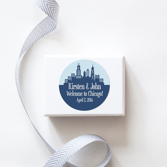 Chicago, IL Custom Wedding Welcome Stickers  -  SKYLINE DESIGN
