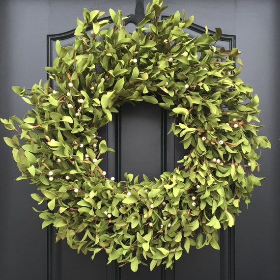 Spring Decor - Faux Boxwood Wreath with Berries - Boxwood Wreath - Door Wreaths