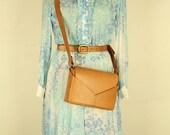 Vintage Blue Watercolor Cotton Dress, Small