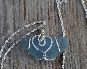 English Sea Glass Denim Blue Heart wrapped in .925 Sterling Silver Wire Pendant/Necklace