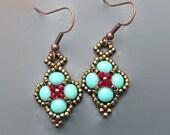 Seen on Bones - Turquoise Earrings Diamond Shape Beaded Earrings - Turquoise Jewelry - Red Beaded Earrings - Dangle Earrings Brass Jewelry